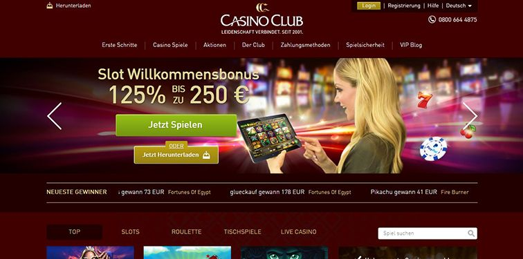 Die Casino Club Homepage