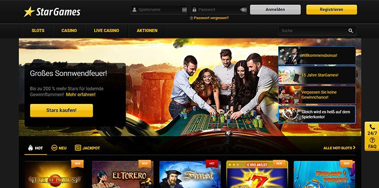 Screenshot der Webseite des Stargames Casinos