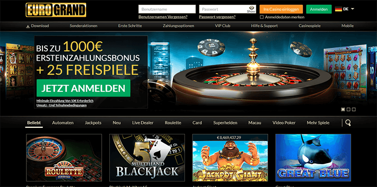 eurogrand casino login