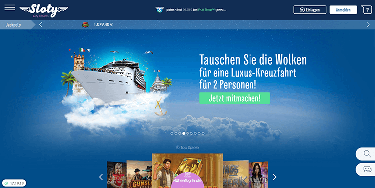 Screenshot der Sloty Casino Plattform