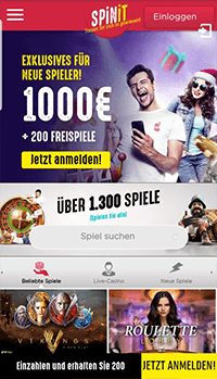 Die mobile Spinit Casino Webseite